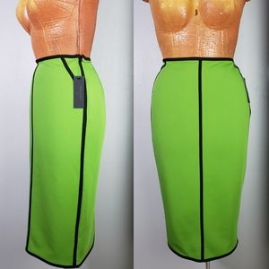 NWT Worthington lime green scuba pencil skirt